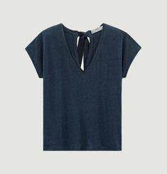 T-Shirt En Lin Noué Au Dos