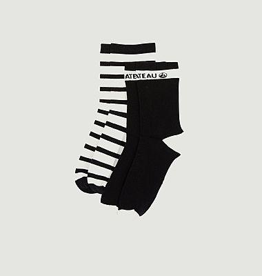 Lot de 2 paires de chaussettes rayées