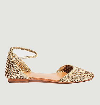 Piccolo foil leather flat sandals