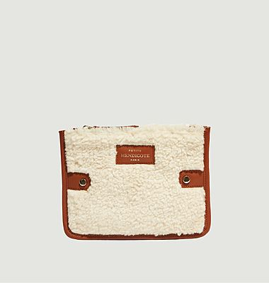 Lilia faux fur and leather pouch
