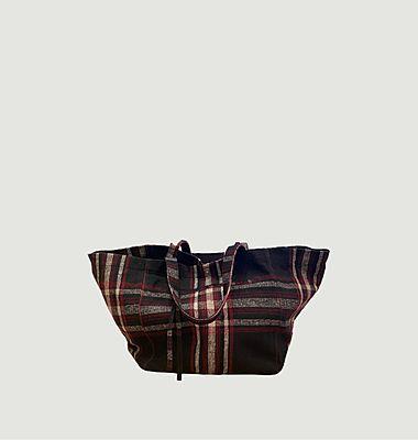 Sac cabas en coton à carreaux Aya Bitloom