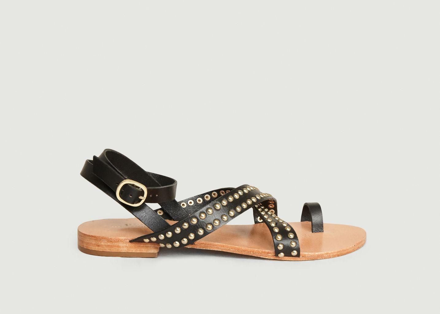 Sandales En Cuir Avec Studs Benito - Petite Mendigote