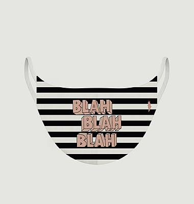 Striped fabric mask with lettering