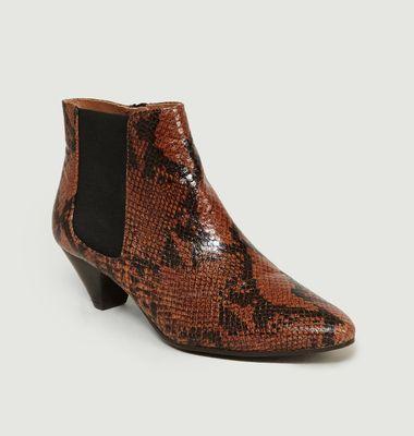 Boots En Cuir Façon Python Tiphaine