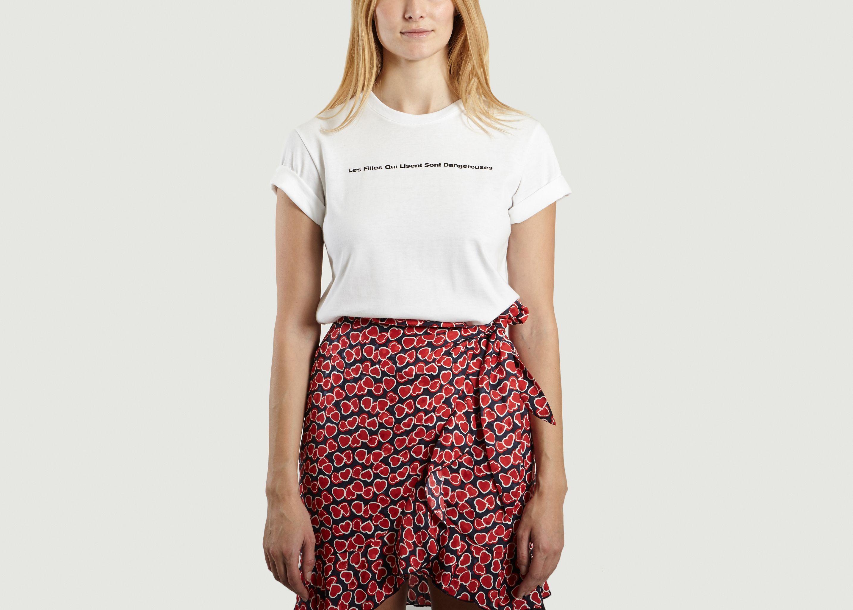 04dce068871 Les Filles Qui Lisent Sont Dangereuses T-shirt White Proêmes de ...