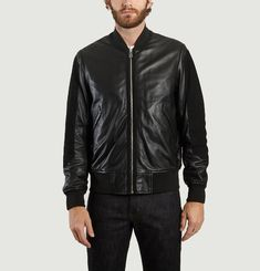 Contrast Leather Bomber