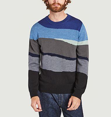 Pull rayé en laine et coton