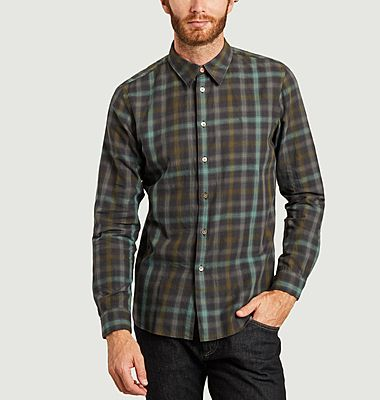 Chemise en coton et lin à carreaux