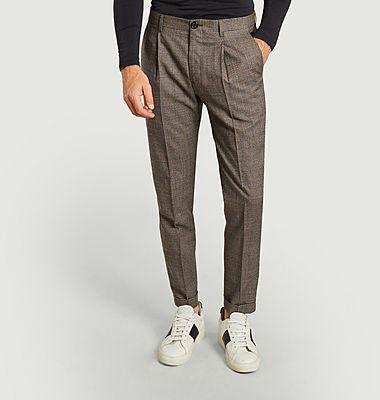 Pantalon à pinces en laine motif pied-de-poule