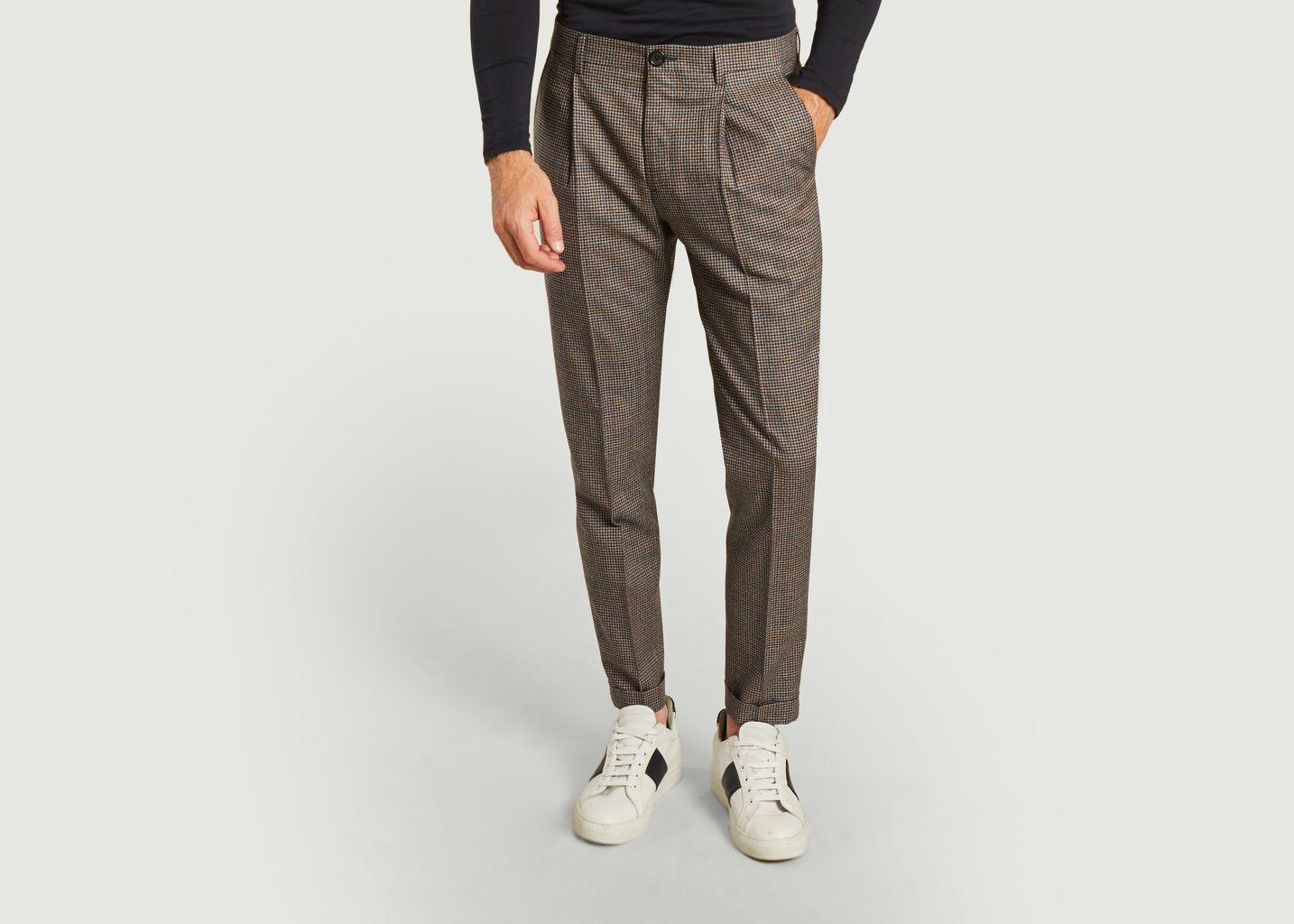 Pantalon à pinces en laine motif pied-de-poule - PS by PAUL SMITH