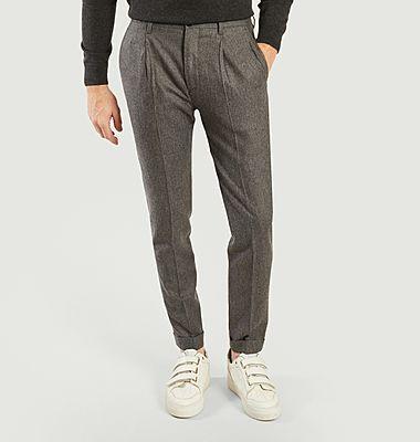 Pantalon formel à plis en laine