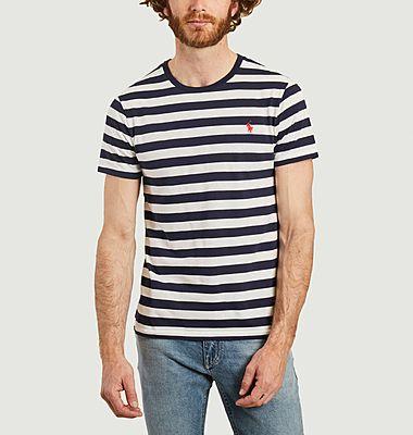 T-shirt rayé siglé en coton