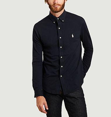chemise ultra légère en coton piqué bleu marine