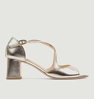 Sandales en cuir métallisé Nada