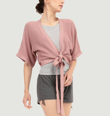 Wrap-over cardigan in fancy knitwear
