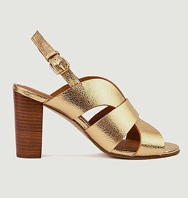 Sandales en cuir métallisé N°55