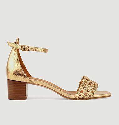 Sandales en cuir métallisé N°890