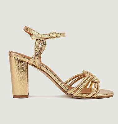 Sandales en cuir métallisé N°111