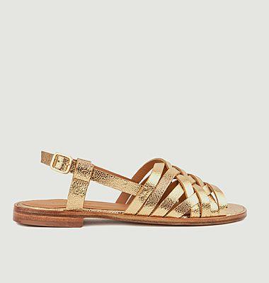 Sandales plates en cuir métallisé N°63