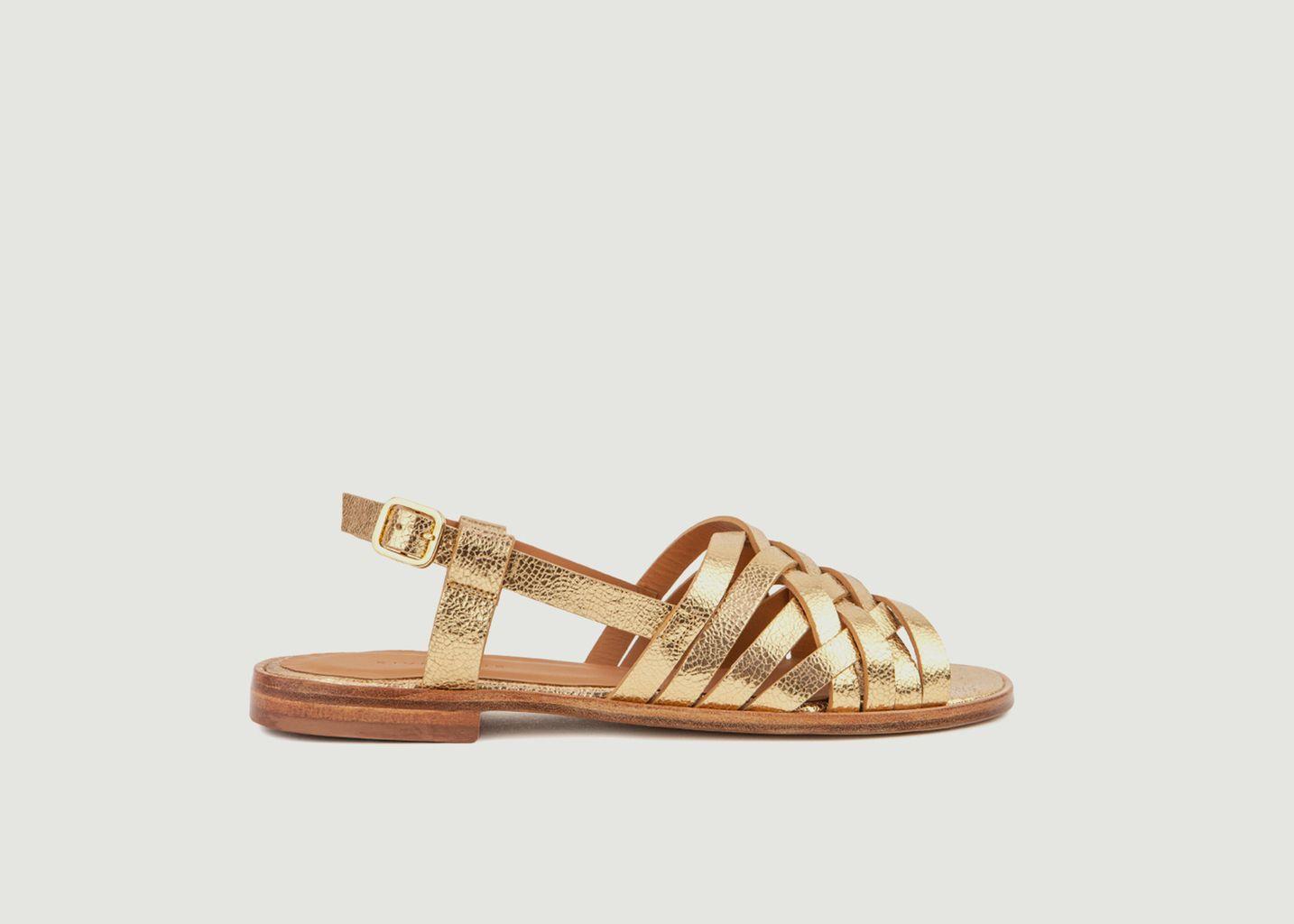 Sandales plates en cuir métallisé N°63 - Rivecour