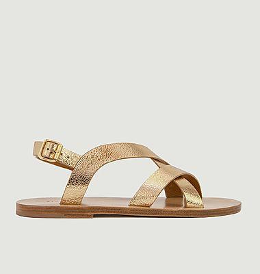 Sandales plates en cuir métallisé N°201