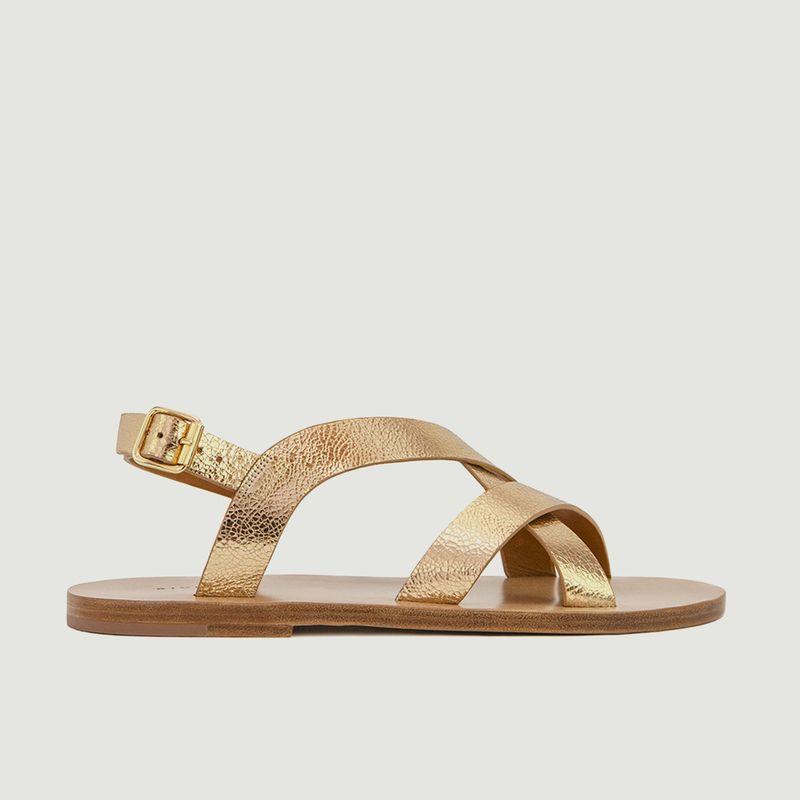 Sandales plates en cuir métallisé N°201 - Rivecour