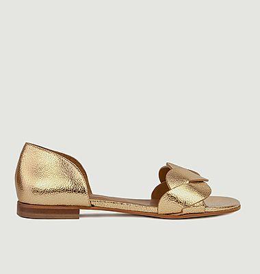 Sandales plates en cuir métallisé N°36