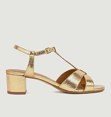 Sandales en cuir métallisé N°452