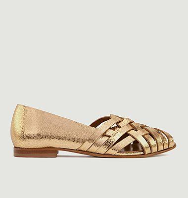 Sandales plates en cuir métallisé N°64