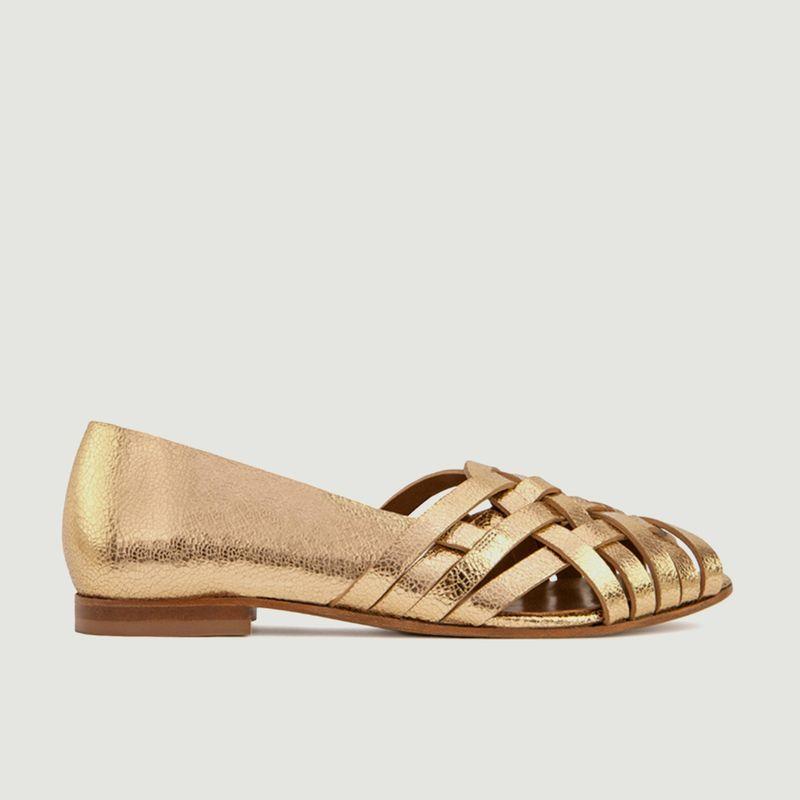 Sandales plates en cuir métallisé N°64 - Rivecour