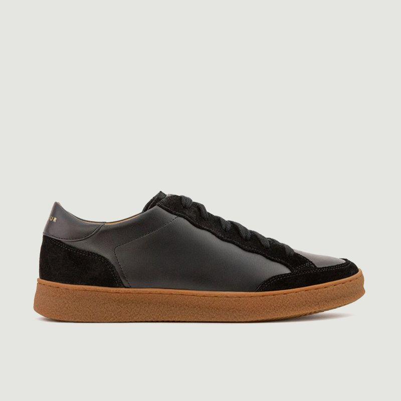 Sneakers basses en cuir bi-matière N°14 - Rivecour