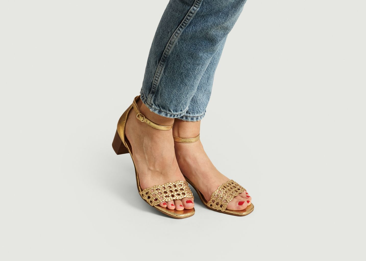 Sandales en cuir craquelé n°890 - Rivecour