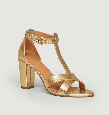 Sandales en cuir craquelé n°114