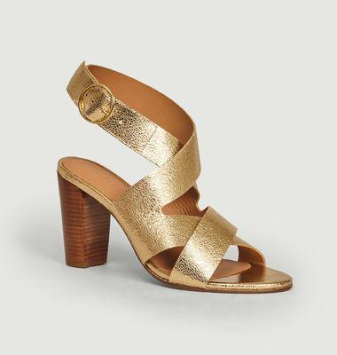 Sandales en cuir craquelé n°96