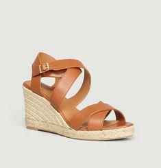 N°192 leather wedge sandals