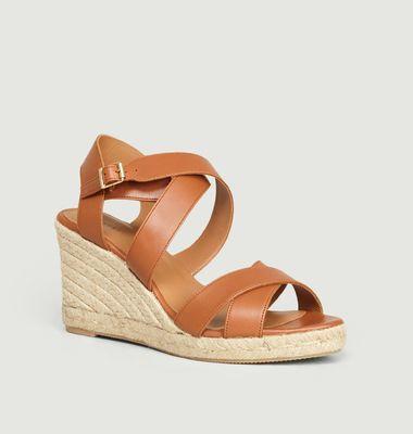 Sandales compensées en cuir n°192