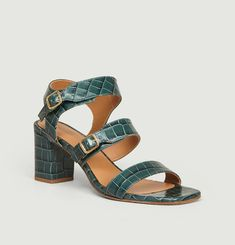 N°45 croco effet leather sandals