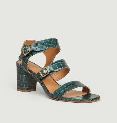 Sandales en cuir effet croco n°45