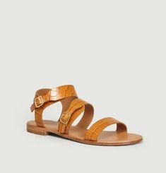 N°303 croco effect leather sandals