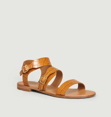 Sandales en cuir façon croco n°303