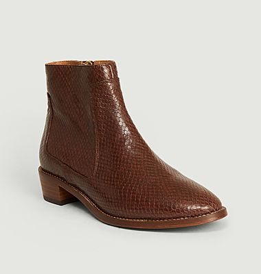 N°67 python effect leather boots