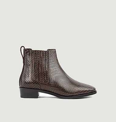 Chelsea boots en cuir façon python N°69