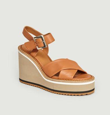 Sandales Compensées à Plateforme En Cuir Noémie