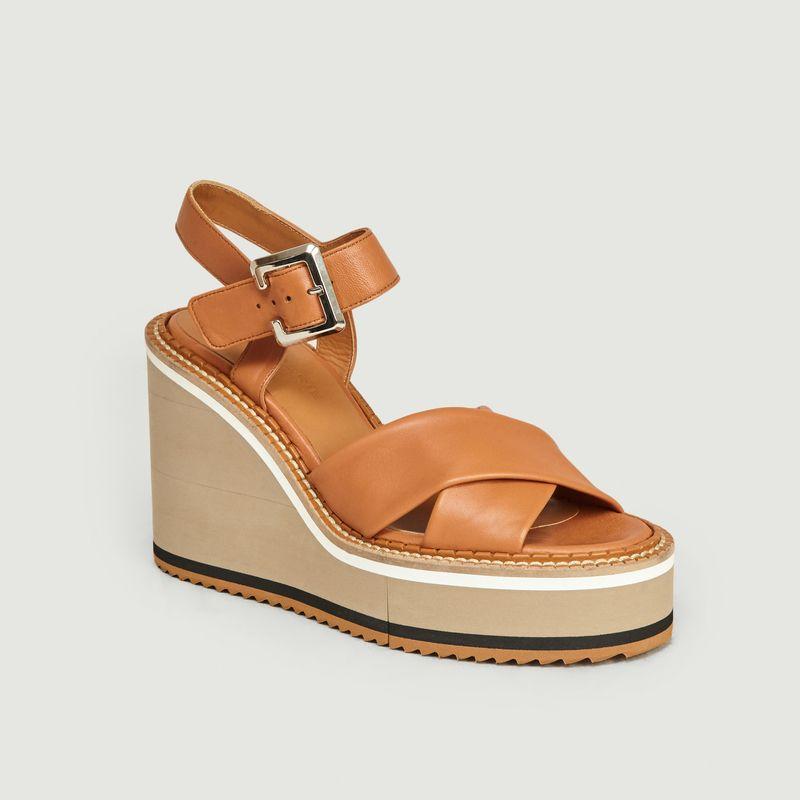 Sandales Compensées à Plateforme En Cuir Noémie - Clergerie