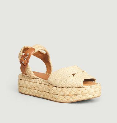 Sandales Compensées A Plateforme En Raphia Aida
