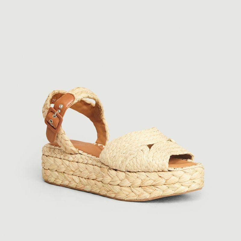 Sandales à plateforme en Raphia Femme beige | Jonak