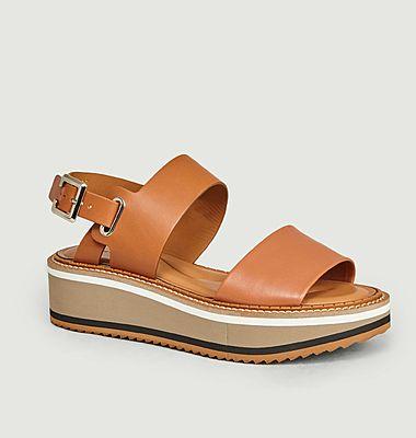Sandales Compensées A Plateforme Fleur