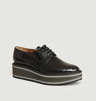 Brook croco effect leather platform derbies