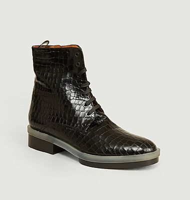 Robyn croco effect leather ankle boots