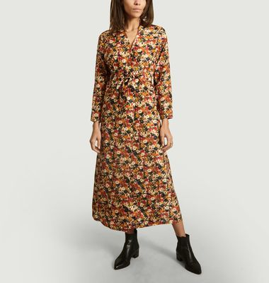 Cats Floral Pattern Silk Dress
